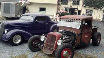 These antique cars were spared from the fire.