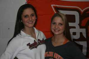 Kayla Kennedy and Morgan Delinger will both compete in collegiate gymnastics.