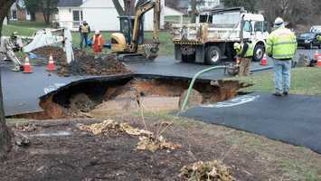Crews are repairing a sinkhole in Lower Allen Township, Cumberland County.