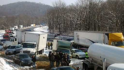 Three vehicles hit a Turnpike plow truck in the third crash.