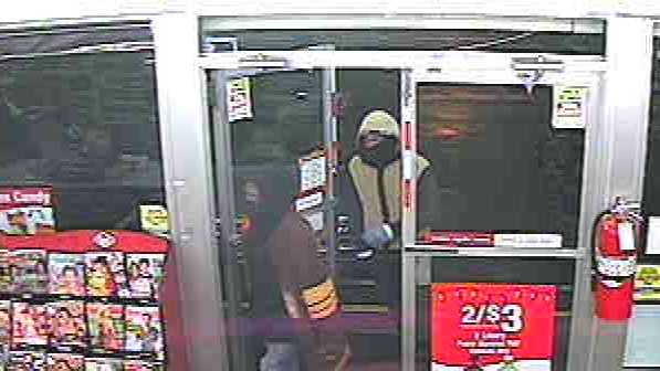 Police released this surveillance camera image of the robbery suspects.