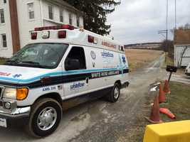 An ambulance leaves the Red Lion Sewer Authority facility on Gebhart Road in Windsor Township on Monday.