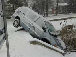 The driver swerved to avoid another swerving driver and ended up in the ditch. No one was hurt.