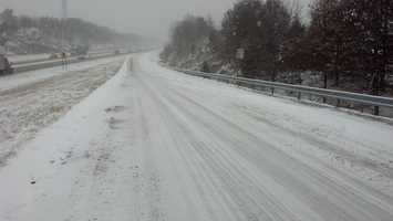 581 in Hampden Township, is relatively clear but the westbound on-ramp at Creekview Road is snow-covered, 11 a.m. Tuesday.