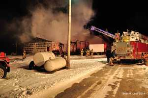 A fire destroyed a barn early Wednesday morning in Mount Joy Township, Lancaster County.