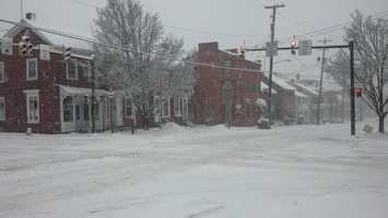 A very quiet downtown Strasburg, Lancaster County, 8:30 a.m. Monday.