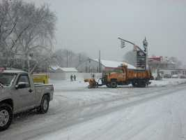 A plow heads down Liberty Street near Harrisburg Pike in Lancaster, Monday, 9:30 a.m.