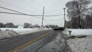 Route 222 south of Quarryville, several poles snapped. Power and phone lines are down. PPL just arrived, 8:15 a.m.