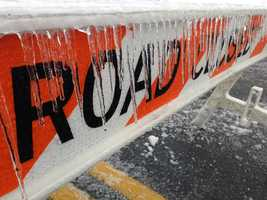 Ice forms on a road closed sign in Lancaster County, Wednesday morning.