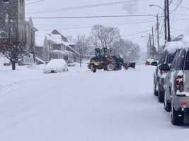 Heavy equipment on Hess Street in Quarryville, 8:30 a.m. Thursday.