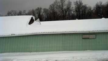 A partial roof collapse at a hog farm in Martic Township, Lancaster County, 2:30 p.m. Thursday.