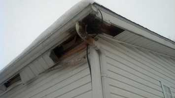 Lightning struck the roof of a home on Pitney Road in Lancaster Wednesday.