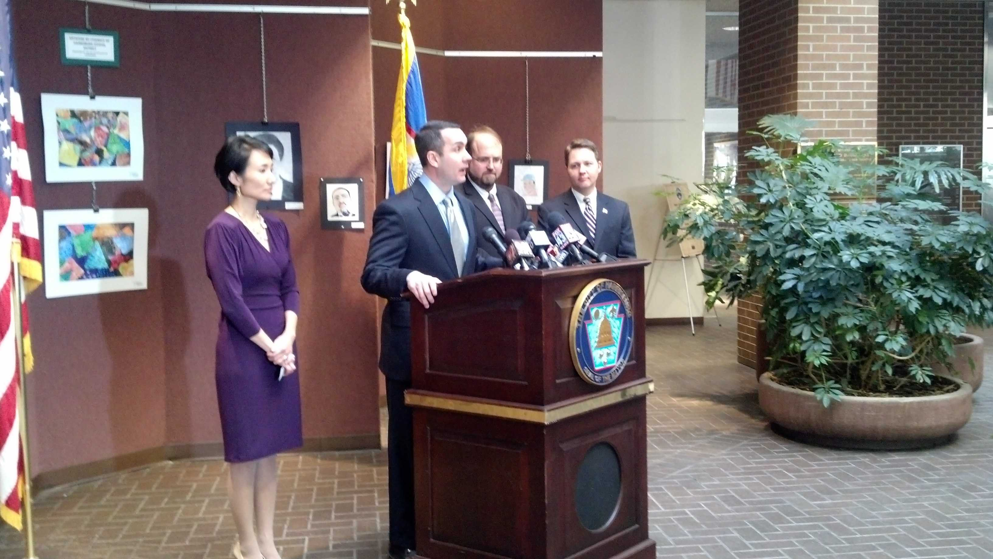 Auditor General Eugene DePasquale makes the audit announcement Monday afternoon at a news conference.