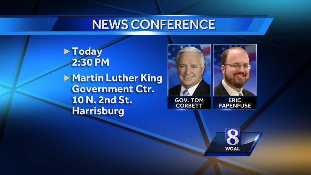 Gov. Tom Corbett and Mayor Eric Papenfuse will discuss the end of the state's financial receivership with the city.