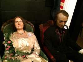 Figures representing Mary Todd Lincoln and President Lincoln are two of nearly 100 wax figures that will go up for bid on March 15 in Gettysburg.