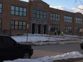 The scene at Phineas Davis Elementary School Thursday.