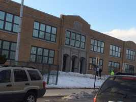 The scene outside of Phineas Davis Elementary School around 5 p.m. Thursday.