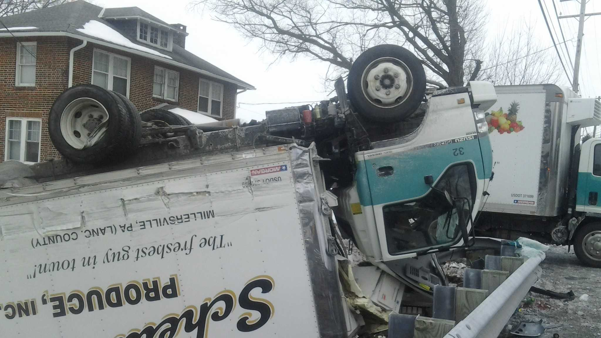 A pickup and produce truck collided Friday morning in Lancaster County, sending the produce truck driver to the hospital.