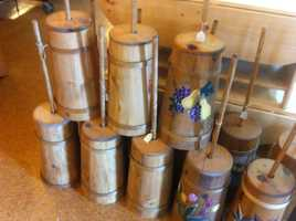 These Amish butter churns are generally bought for decorative use.