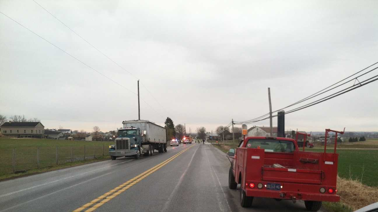 The collision happened around 7:30 a.m. in Leacock Township.
