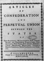 18: The Articles of the Confederation, drafted in 1776, was signed by members of the Continental Congress in York, PA. The document united the 13 colonies and formed the United States.