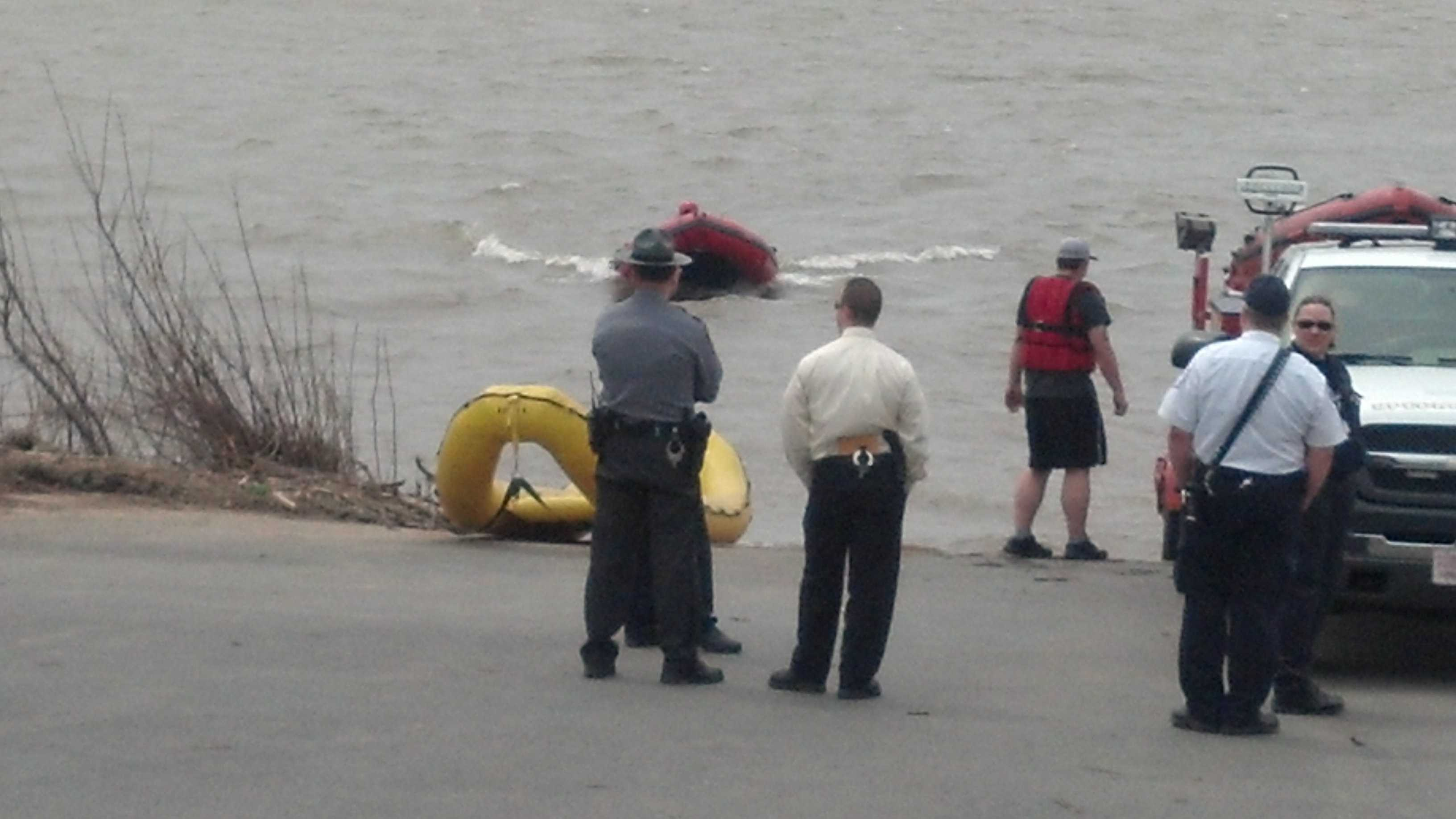 Police on the scene in Middle Paxton Twp., Dauphin County after a fisherman found a body in the Susquehanna River.
