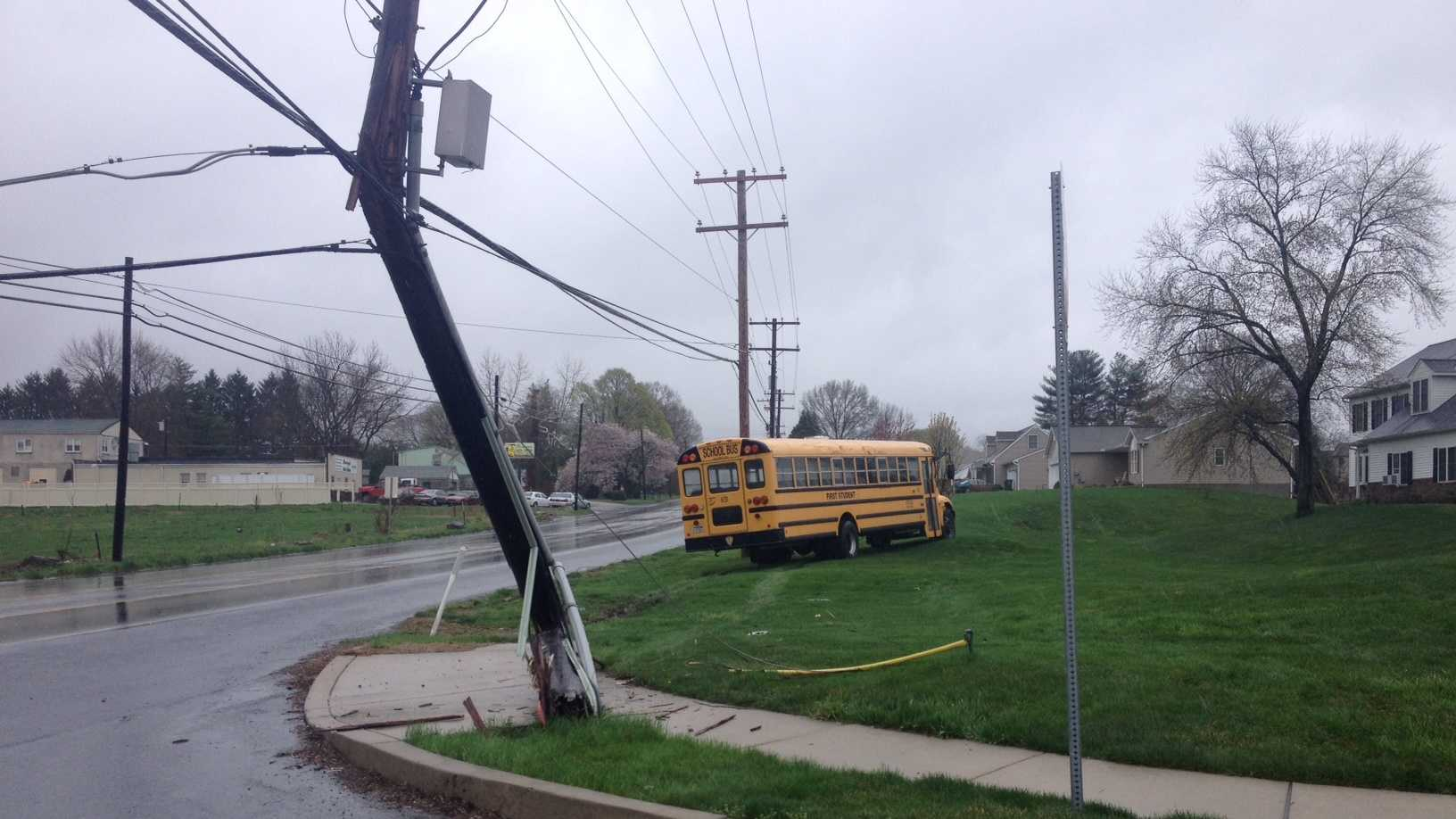 A school bus went off the road and clipped a power pole on Tuesday in Mountville, Lancaster County.