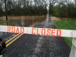 Alloway Creek floods Updike Road near Littlestown, Adams County, Wednesday afternoon.