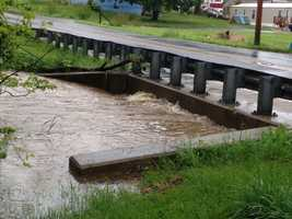 Hellam, York County, Friday morning. Kreutz Creek floods one of its usual spots along Frysville Road.