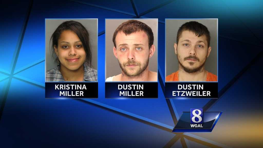 Police say Kristina Miller, her brother in law, Dustin Miller and Dustin Etzweiler met to buy drugs in the parking lot of the Lebanon County Courthouse.