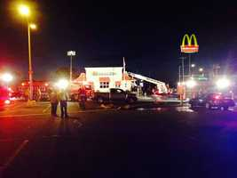 Officials said smoke filled the inside of the restaurant, but everyone made it out safely.