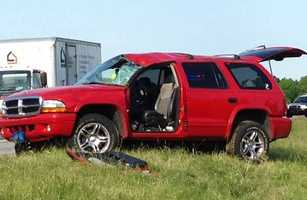 A driver was hurt when her SUV rolled over on Route 283 Monday morning in Lancaster County.