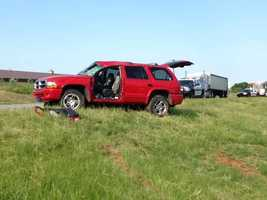 Officials said the driver swerved to avoid a chair that had fallen in the road.