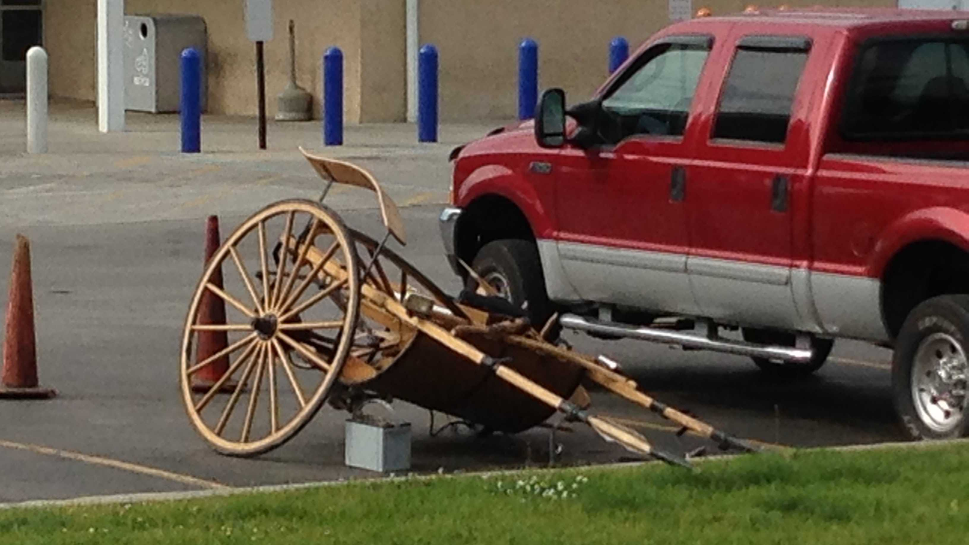 Parts of the buggy remain at the scene.