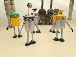 Artist Dan Baxter, who is based out of State College, Pa., says he utilizes items like spark plugs, lanterns, gas cans and cables to create his robots.