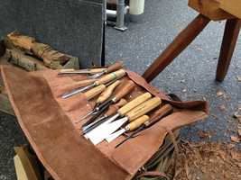 """""""My work is about quality,"""" said Bair, who works with traditional carving chisels. """"My materials range from old puzzles to barn wood."""""""