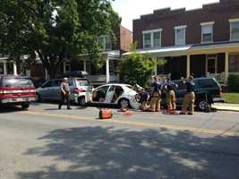 Police are investigating what caused a man to crash into six parked cars on Monday morning in Lancaster City.