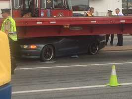 That's when it went underneath a flatbed tractor trailer. The vehicle is visibly crushed.