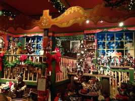 "One room is designated as ""Santa's Workshop."""