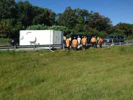 A camper that was being pulled by a van overturned on Route 30 in Lancaster County on Friday morning.