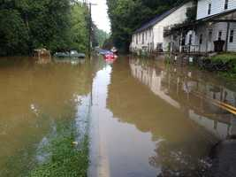 Crews rescued a woman from a car Monday morning in Manor Township on a flooded Charlestown Road near Route 741.