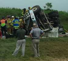 A truck flipped onto its side Monday morning along Route 222 in Lancaster County.