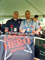 """Liquid Hero Brewery's Christian Quinlivan and Casey Jordan (a.k.a. """"Hillbilly Chili"""" creator) manned a tent at Gettysburg Brew Fest."""