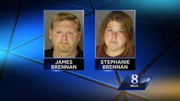 Police arrested the parents, Stephanie and James Brennan, and charged them with endangering the welfare of their two children.