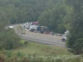 Traffic backs up near the crash scene on the Pennsylvania Turnpike.