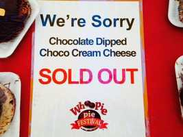 Sold out! The festival ran out of Chocolate Dipped Chocolate Cream Cheese pies.