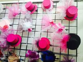 Pink fasteners (small hats) for Breast Cancer Awareness by MoJo.