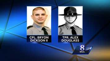Friday, September 12, 2014: Two Pennsylvania State troopers, Cpl. Bryon K. Dickson II and trooper Alex Douglass, were shot.