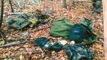 Friday, October 3, 2014: State police release this photo of supplies they found in the woods that they believe were left behind by Frein.  The items include a backpack, clothing, food, explosive devices and other supplies.