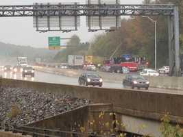 A tractor-trailer crash slows traffic on Route 30 in Lancaster County on Wednesday afternoon.